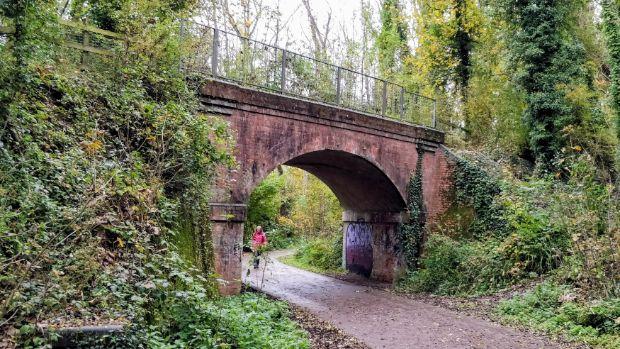 Itchen Way passes under this former railway bridge