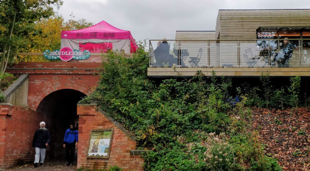 The Handlebar Cafe that is situated on the railway embankment above the Garnier Road car park