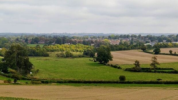 Itchen Way: Landscape view of trees, fields and buildings in New Alresford.