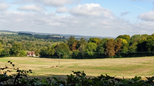 Attractive landscape of fields and woodland.