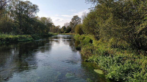Clear water of River Itchen with early autumn colours of trees on both banks. The Itchen Way crosses the river here.