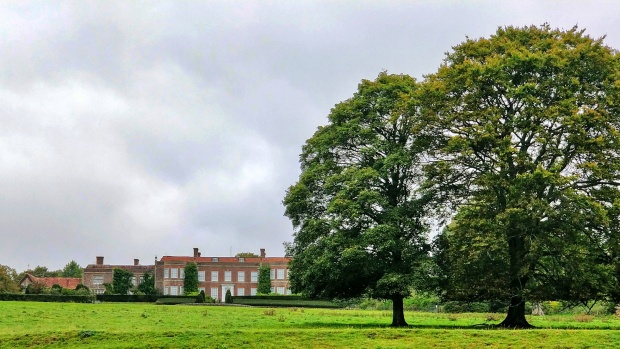 View of Hinton Ampner House, trees and grassland.