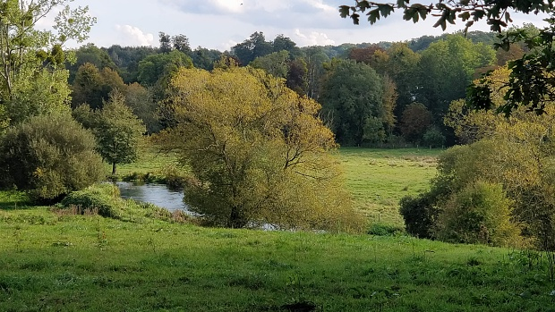 River Itchen, grassland and trees just turning colour.