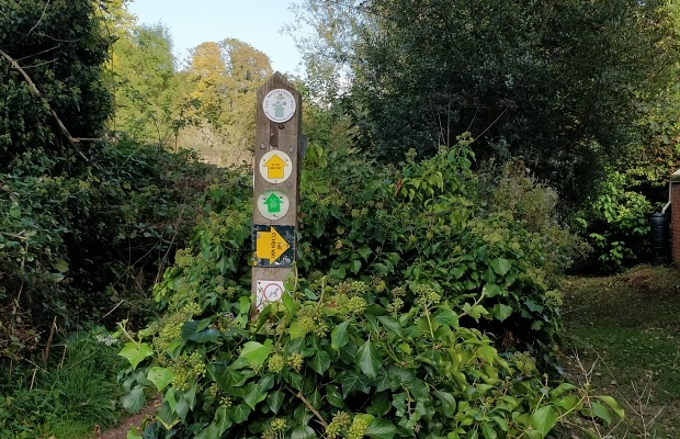 The Itchen Way. Post with various footpath markers.